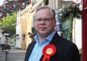 Andy Newman, Labour Party in Corsham High Street, Chippenham summer