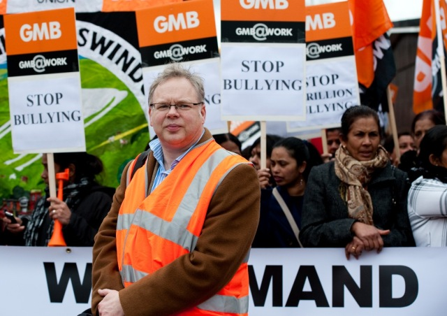 Andy Newman Labour candidate for Chippenham at GMB march copyright Pete Dewhirst,