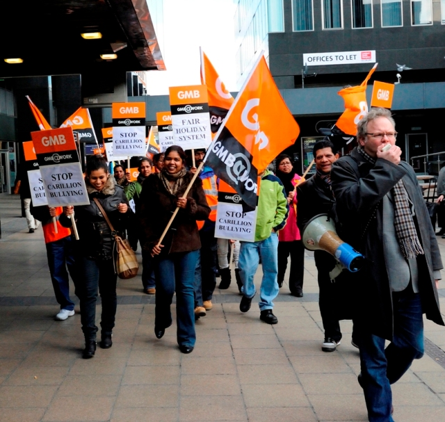 Andy Newman with GMB strikers from Carillion, Euston, 2012