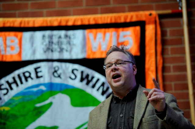 Andy Newman Labour candidate for Chippenham  speaking at GMB public meeting copyright Pete Dewhirst,